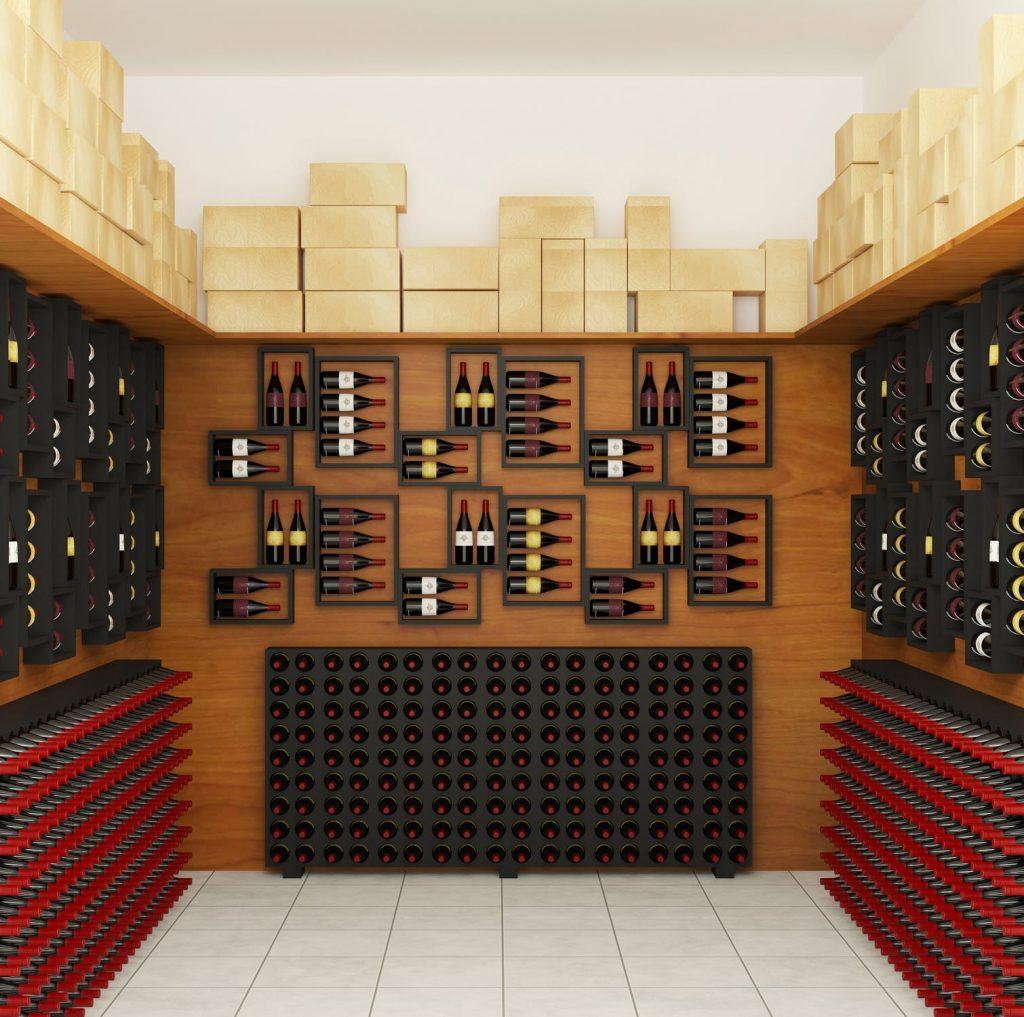 Cave à vins contemporaine avec des présentoirs design